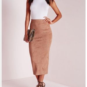 Misguided longline Suede Midi Skirt